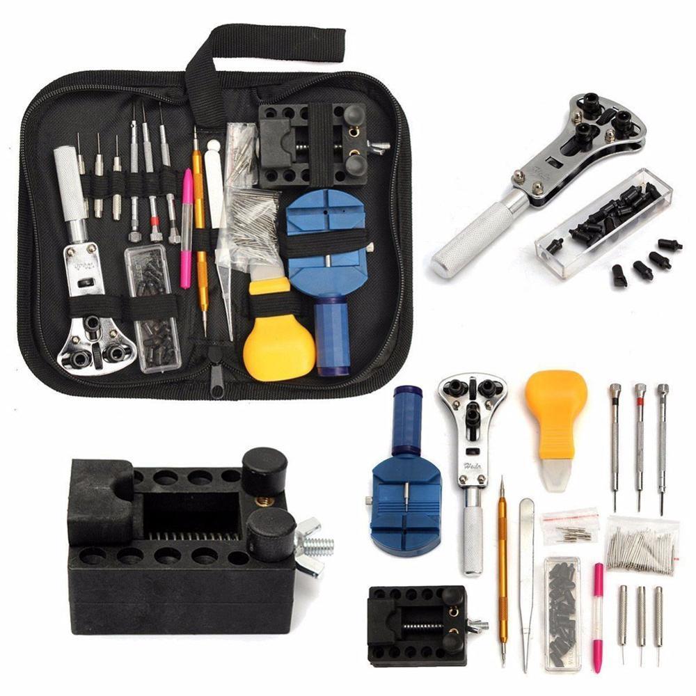 Kit de herramientas de reparación de relojes 144 Uds herramientas para relojes herramientas de relojero abridor de caja de reloj herramienta para quitar enlace de Pin Barra de resorte herramientas de relojería