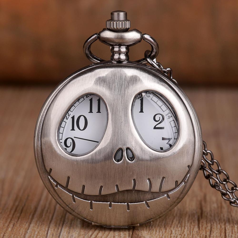 Новые модные кварцевые карманные часы ретро лягушка большие глаза Джек Скеллингтон карманные часы с ожерелье, подвеска, цепочка часы с изображением черепа