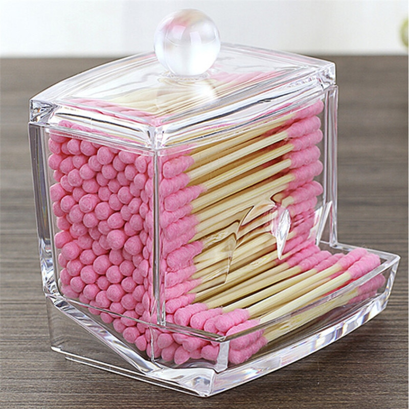 Acrylic Cotton Swabs Storage Holder Box Portable Transparent Makeup Cotton Pad Cosmetic Container Jewelry Organizer Case