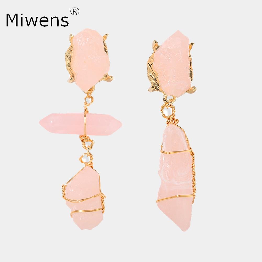Miwens Hot Za Quartz Stones Dangle Earrings For Women Maxi Semi-Precious Stone Drop Hanging Earrings Charm Statement Ear Jewelry