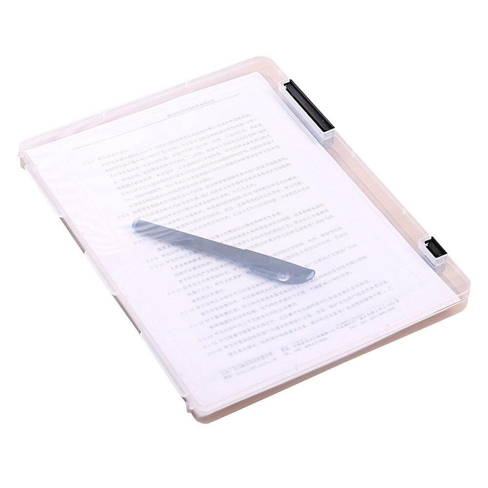 Práctica caja de almacenamiento de archivos A4 transparente, cajas de documentos de plástico transparente, organizadores de papel de escritorio, oficina, escuela 30,7x23,2x2cm 20MAR18