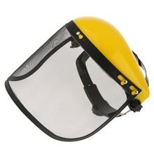Protector facial de deshierbe para jardín, visera de malla ajustable para desbrozadora, usuario