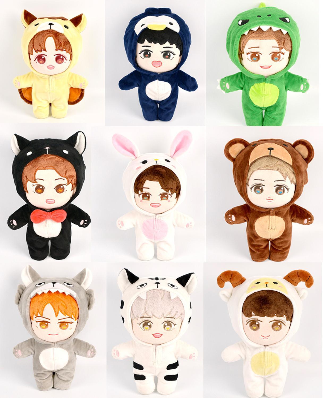 20 см Kpop EXO Baekhyun Chanyeol Xiumin Suho Sehun KAI D.O.Chen плюшевая кукла игрушка с Одежда для кукол наряд комбинезон Бесплатная доставка