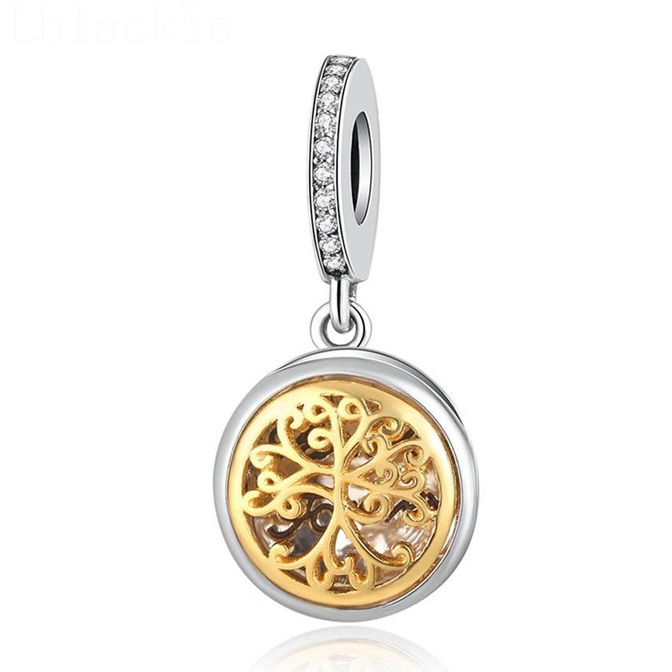 S925  Pendant Bead Charm fit Pandora Bracelet & Bangle Gold Colour Family Roots Dangle Openable DIY Jewelry