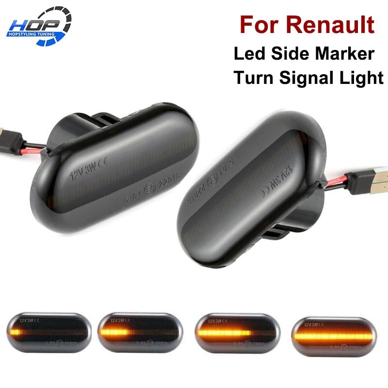 2x Dynamic LED Side Marker Turn Signal Lights Indicator Repeater Car Lights For Renault Megane 2  Clio Espace Kangoo Laguna