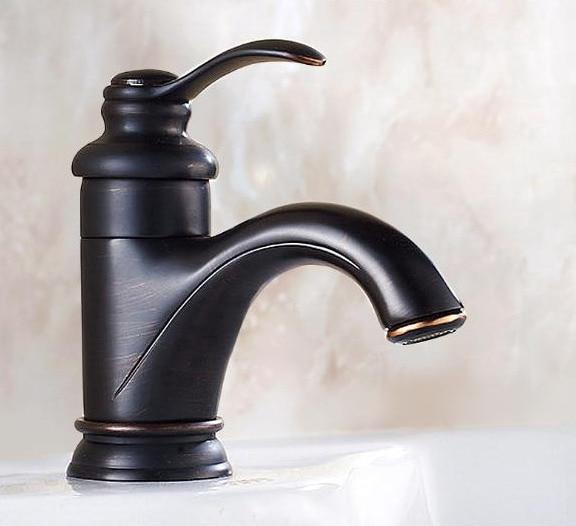 Grifo mezclador de agua mnf065, grifo de baño con manija única montado en cubierta de un solo agujero de latón pulido con aceite negro, grifo de fregadero