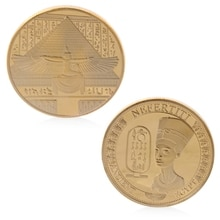 Vergulde Oude Egypte Nefertiti Commemorative Uitdaging Coin Collection Gift Non-valuta Munten    -