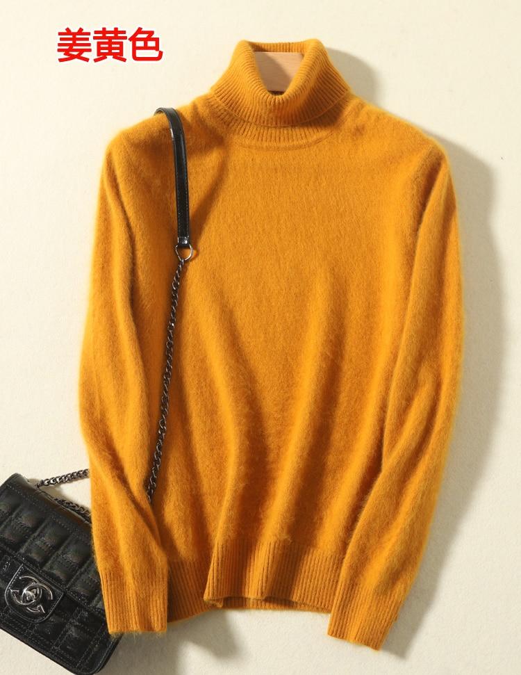 100% Mink Cashmere turtleneck sweater women jumper 2021 autumn winter warm clothes pull femme enlarge