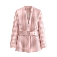 women blazer suit fashion office wear with belt plaid coat vintage long sleeve pockets female 2021 new outerwear chic tops