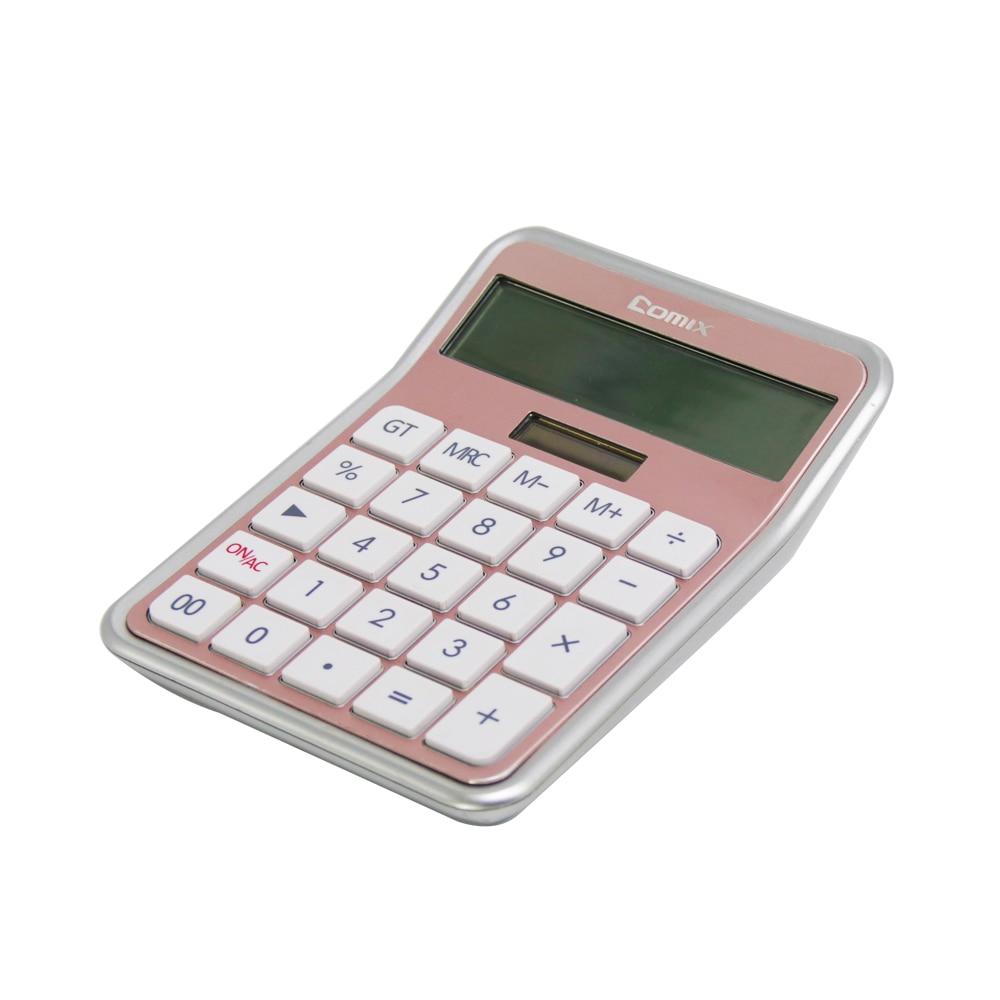 Comix калькулятор 12 цифр, калькулятор для офиса/дома/школы, C-8S (розовое золото)