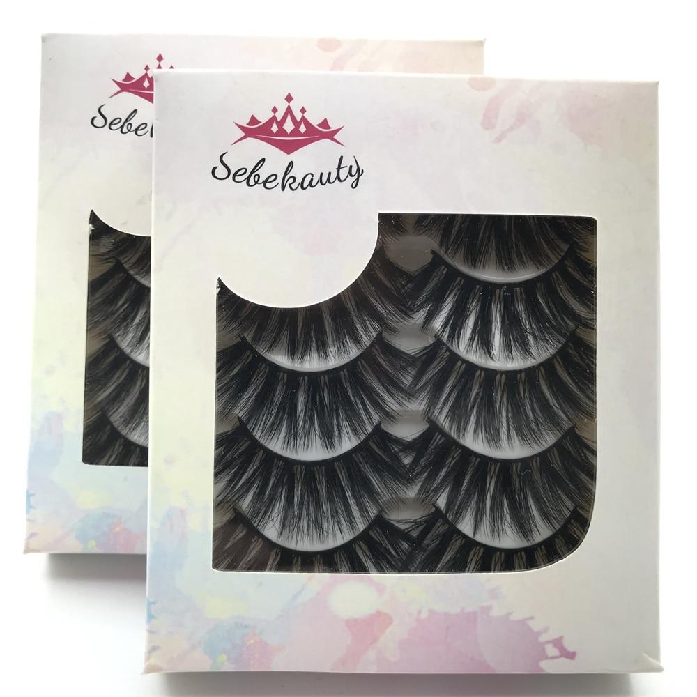 Sebekauty 5 Pairs New Faux Mink Hair Thick False Eyelashes Wispies Fluffies Drama Eyelashes Extension Handmade Makeup Tools