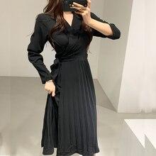 YAMDI корейское женское Плиссированное Платье для офиса, женское повседневное однотонное желтое платье с длинным рукавом и зубчатым воротник...