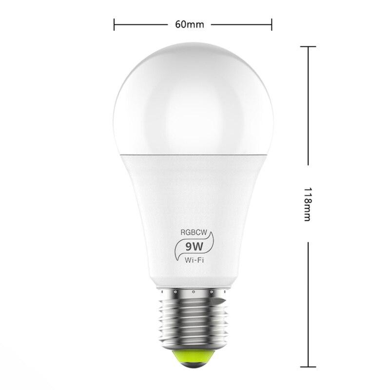 WiFi Smart Light Bulb RGB LED 9W RGB+CW Color Adjustable App Remote Control Timing/voice E27