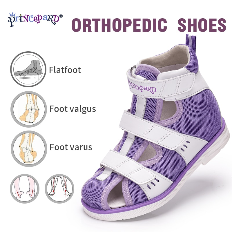 Princepard Summer Kids Orthopedic Sandals Boys Girls Genuine Leather Footwear Toddler Walking Correcting Shoes with Arch Support enlarge