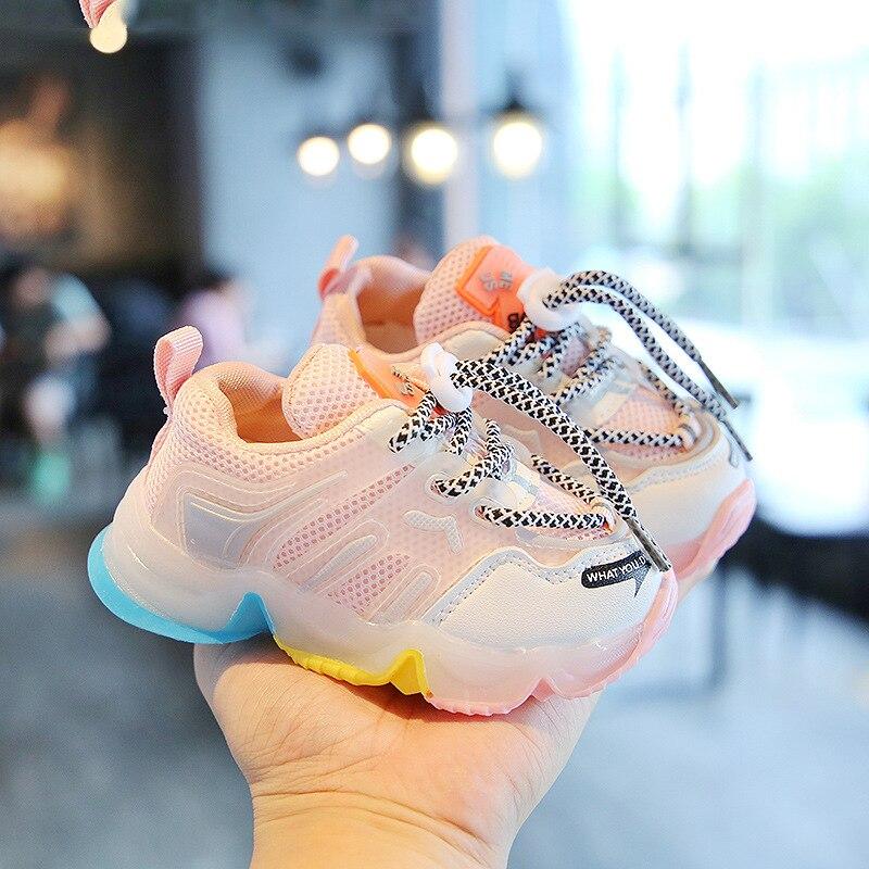 أحذية رياضية عصرية للأطفال ، أحذية شتوية LED للأولاد والبنات ، لون الحلوى ، شبكة مضيئة ، للجري