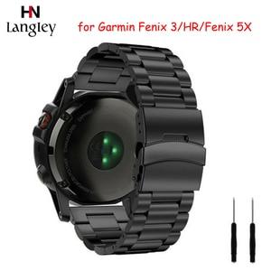 Stainless Steel Watchband For Garmin fenix6 Fenix 3/Fenin3HR 26mm Fenix 5X Straps Insurance buckle Wristbands Rose Golden Band