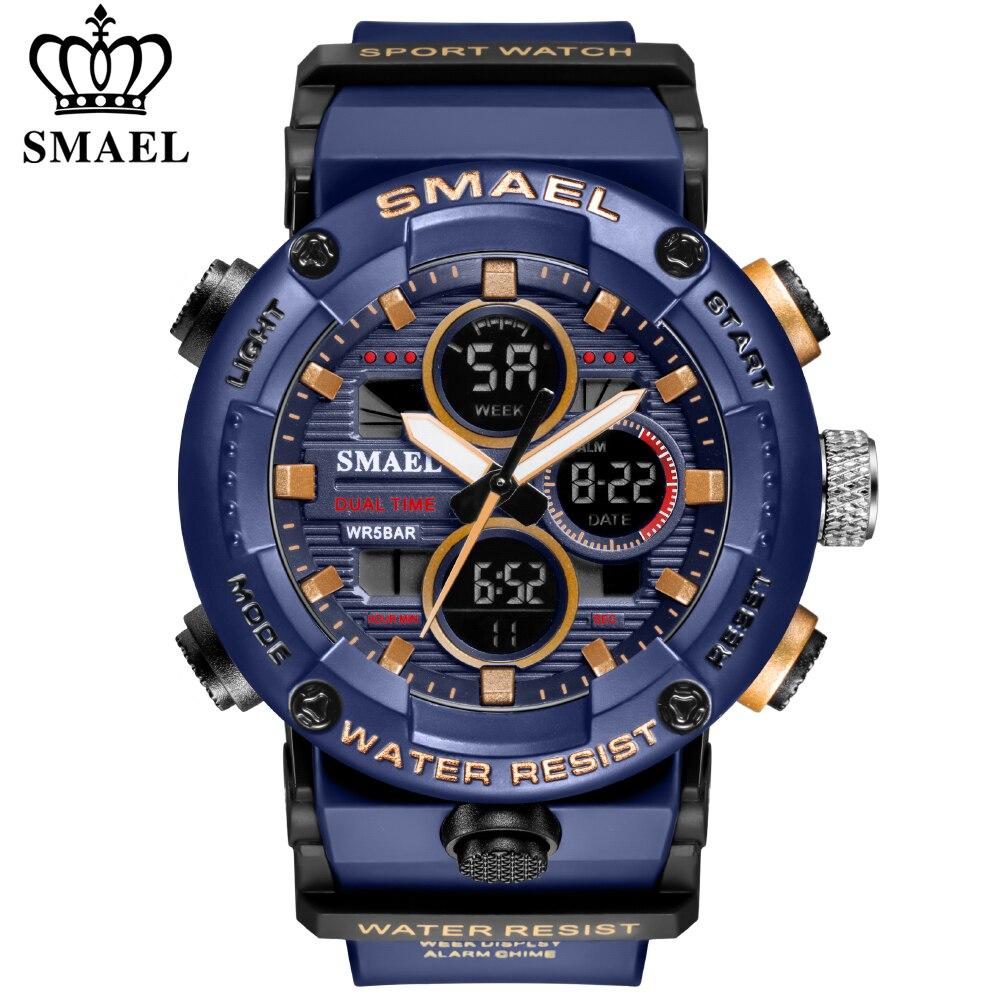 Relógio de Pulso à Prova Militar do Exército Smael Esporte Relógio Masculino Dwaterproof Água Alarme 8038 Digital Quartzo Relógios