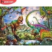 HUACAN     peinture diamant theme dinosaure  broderie complete 5D  perles rondes ou carrees  decoration dinterieur  faite a la main
