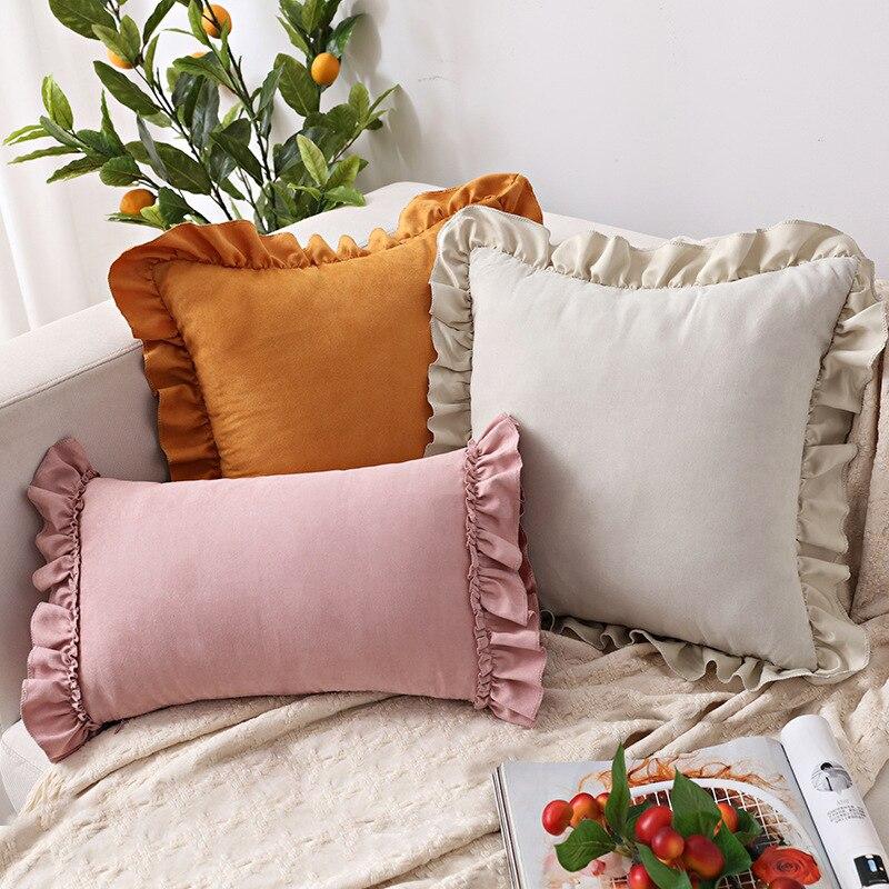 الصلبة غطاء الوسادة الوردي رمادي براون ديكور المنزل وسادة غطاء كشكش لينة فو الجلد المدبوغ ل أريكة سرير غرفة المعيشة 45x4 5 سنتيمتر/30x50cm