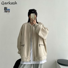 Basic Jackets Women Spring Autumn Korean Style Loose All-match Vintage Biker Couple Casual Outwear L