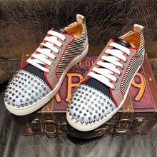 Luxury Men's Designer Spikes Leather Shoes Man Fashion Glitter Casual Shoes Charm wedding dress prom