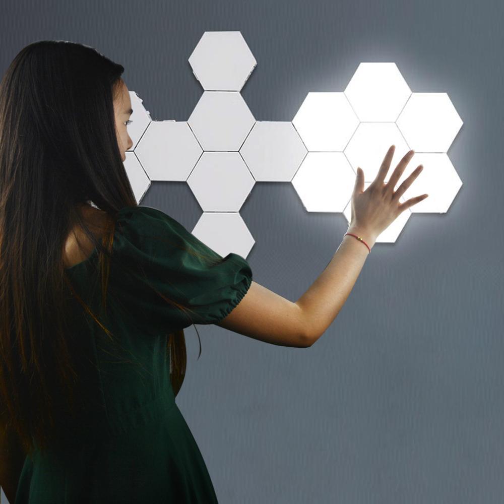 Lámparas LED de pared, Sensor táctil, lámpara cuántica, luz de pared, decoración del hogar, conjunto moderno y creativo de nido de abeja, adsorción de Helios