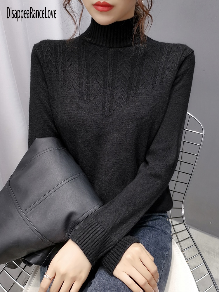 Autumn Winter Thick Sweater Pullovers Women Long Sleeve Sasual 2021 Turtleneck Warm Basic Cashmere Sweater Knit Jumpers Top super good cashmere cotton warm turtleneck mini sweater dress women winter 2019 long sleeve short dress thick clothes stretch