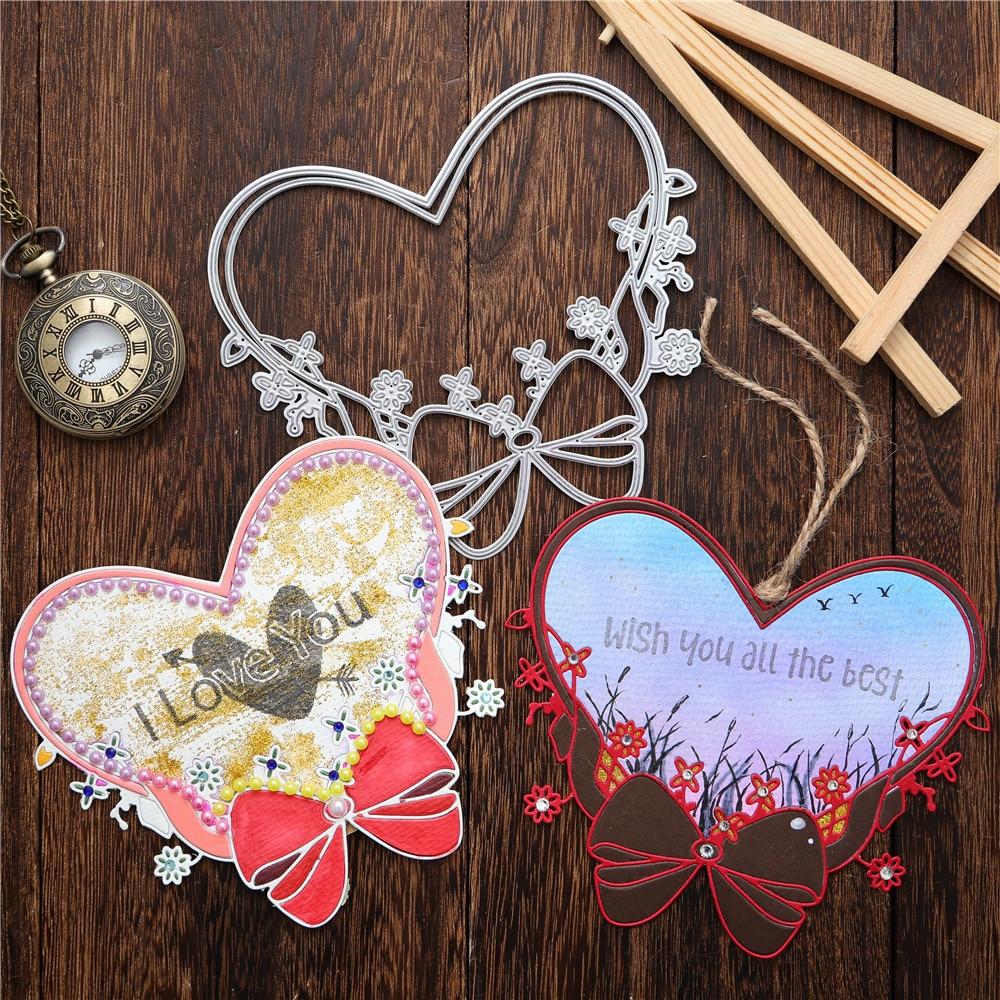 Kokorosa Heart Wreath Metal Cutting Dies Bow For Scrapbooking Craft Diecut DIY Album Card Make Decorative Stencils Template