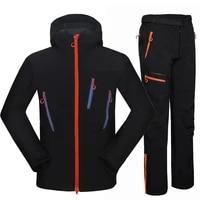 waterproof hiking suit men outdoor thermal fleece softshell jacket and pants sets fishing coat climbing ski trekking trousers