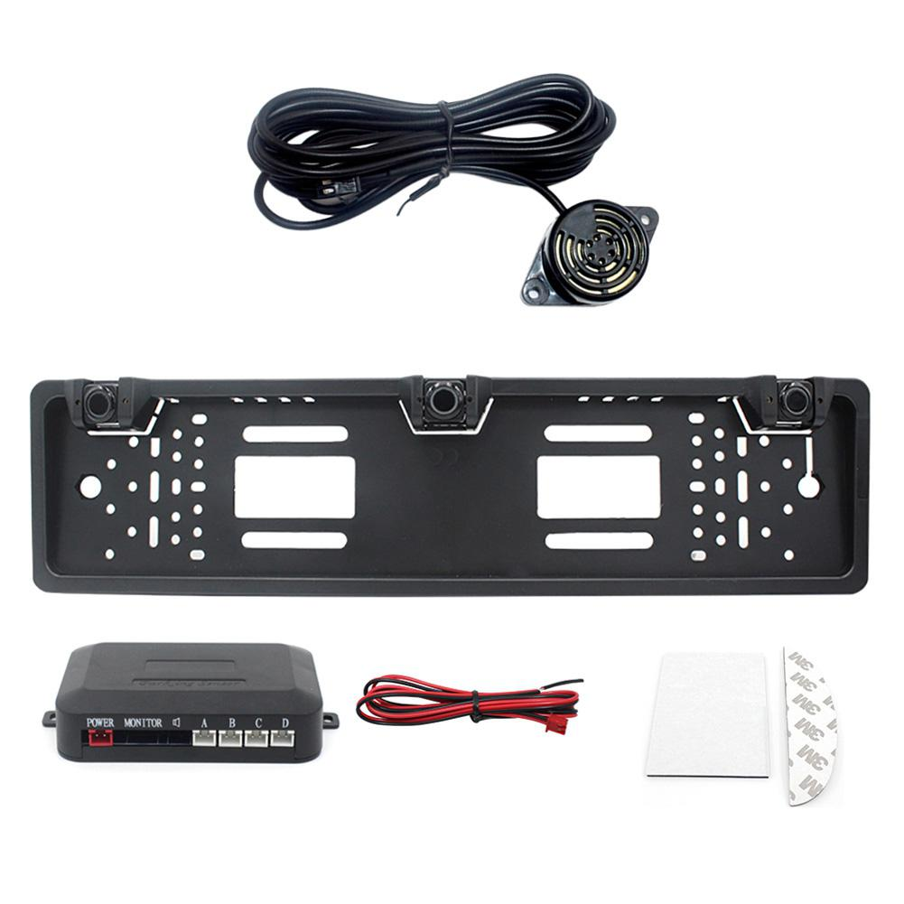 EU Europe Car License Plate Frame Car Parking Sensor Kit Auto Reverse Radar Sensor Buzzer Accessorie