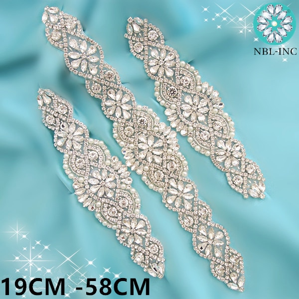 1бр булчински колан сватба със сребърни кристали кристал апликация колан за колан за сватбена рокля