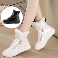 2020 winter platform boots women sneakers shoes woman high top casual shoe wedge zipper booties warm white botas mujer invierno