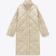 Winter Oversize Long Women's Parkas Vintage Plaid Loose Jacket Coat Female Warm Outwear Chic Pockets