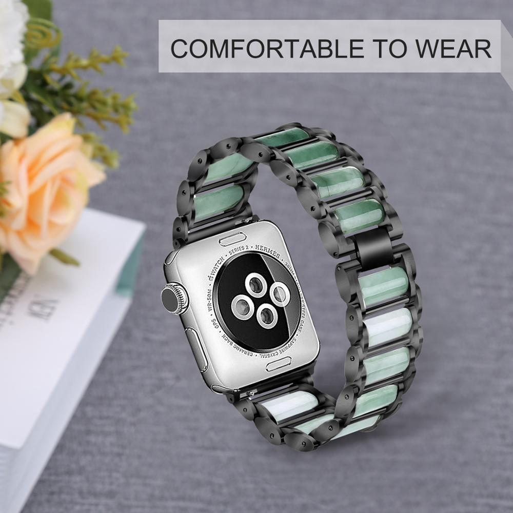 Fashion jewelry watch bands Charom nature jade stone watch bands for apple watch 1/2/3/4/5/6 SE enlarge