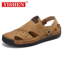 YISHEN New Casual Men Soft Sandals Comfortable Men Summer Leather Shoes Men's Roman Summer Outdoor B