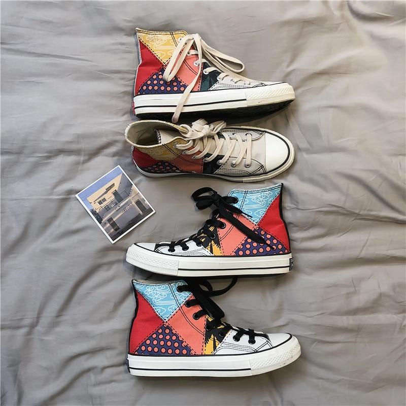 Grafiti de lona, zapatos informales para hombre, zapatillas de tela vaquera, calzado vulcanizado Oxford Plimsolls, calzado de verano para hombre UK-72