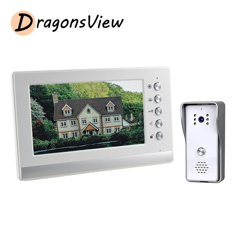 Dragonsview-هاتف باب فيديو 7 بوصة ، اتصال داخلي 1000TVL ، كاميرا ، جرس باب ، لوحة مكالمات خارجية واحدة ، IP65 لأمن المنزل