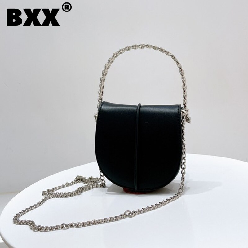 [BXX] Woman New Vintage Saddle Mini Cute Chains Handbag Quality PU Leather All-match Crossbody Shoulder Bag Fashion 2021 GF0560