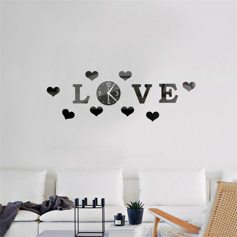 Reloj de pared adhesivo acrílico amor estéreo sala de estar decoración DIY decoración del hogar decoración moderna de moda
