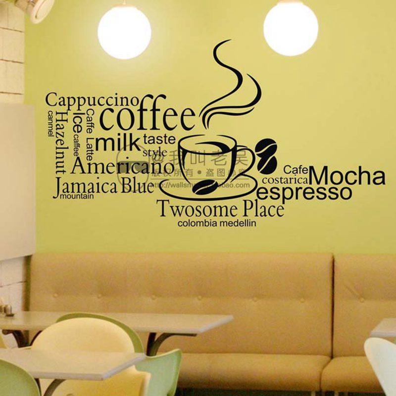 Calcomanía de cafetería, té de la leche, café, helado, pan, pastel, cocina, Adhesivo de pared, decoración del hogar, Mural, decoración, calcomanía de café