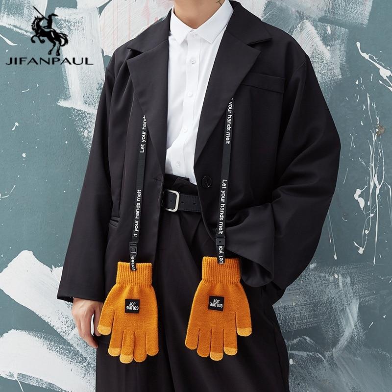 JIFANPAUL Зимние новые мужские трикотажные перчатки, уличные теплые перчатки с разрезом пальцев, бархатные утолщенные перчатки для верховой ез...