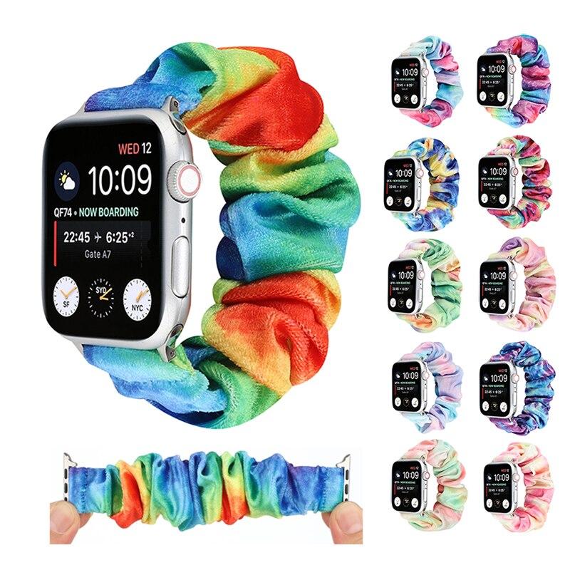 Fabric Elastic Strap for Apple Watch iwatch 6 5 4 3 2 1 SE 38mm 42mm 40mm 44mm Women Girls Fluffy Sc