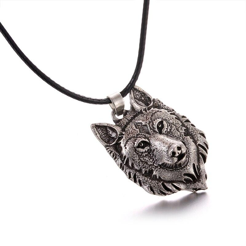 1 Uds. Amuleto de colgante de cabeza de Lobo de plata tibetano de diseño a la moda Animal mujeres hombres regalos joyería