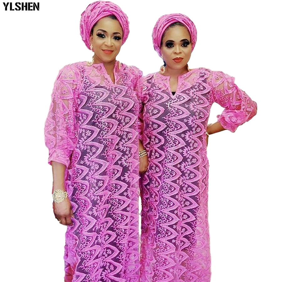 new african tranditional long loose dress vintage hippie dashiki caftan ethnic indian New Lace African Dresses for Women Dashiki Loose Wavy African Clothes Plus Size Fairy Pink Africa Long Maxi Dress With Scarf