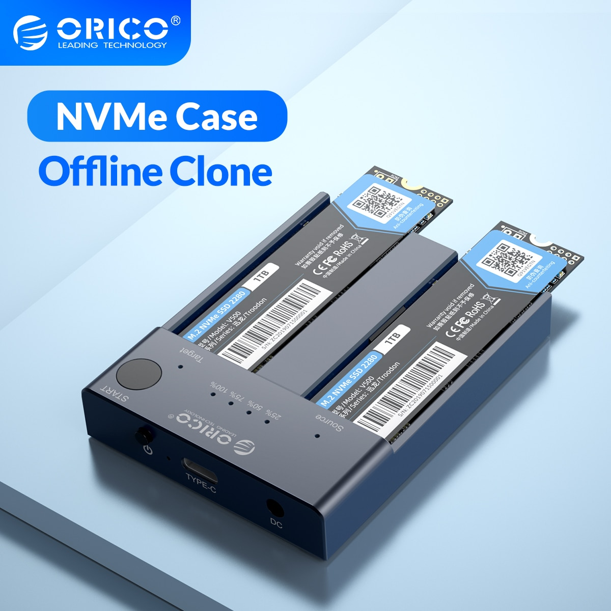 cfast card reader usb3 1 dual port usb a usb c portable gen2 10gbps cfast reader ORICO Dual Bay M.2 NVME SSD Enclosure 10Gbps Offline Clone USB C 3.1 Gen2 For M Key M/B Key NVME PCIe SSD Hard Drive Reader 4TB