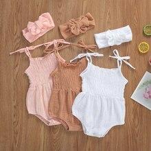 2021 Summer Solid Newborn Baby Girls Cotton Linen Bodysuits Sleeveless Strap Jumpsuits+Headband 2Pcs