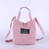 womens mini corduroy shoulder bag female new small canvas handbag totes ladies casual vintage purse cloth bucket pouch for girl