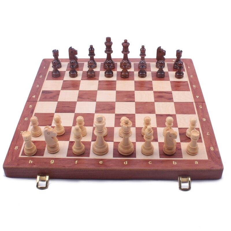 Nogueira xadrez conjunto de alta qualidade madeira dobrável grande conjunto handwork madeira maciça peças nogueira xadrez placa 39cm tamanho king 8cm