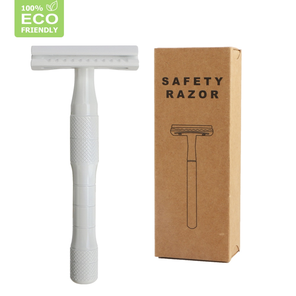 Edieu Double Edge Safety Razor For Women,Metal Razor With Exquisite Handle,Eco Friendly Razor (White Razor),Free 20 Blades