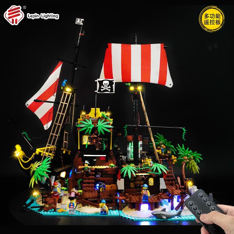 MOC Kit de iluminación LED alimentado por USB para piratas de la Bahía de baracuda contiene caja de batería de litio 21322 bloques de construcción ladrillos Juguetes DIY